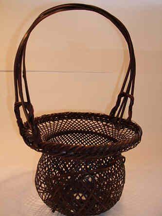 An open weave Japanese bamboo Hana Kago, flower basket