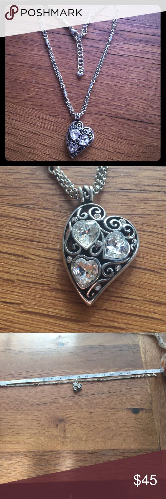 "Brighton reversible heart pendant necklace. Gorgeous Brighton necklace! Adjustable length approx 16""-19"". Brighton Jewelry Necklaces"