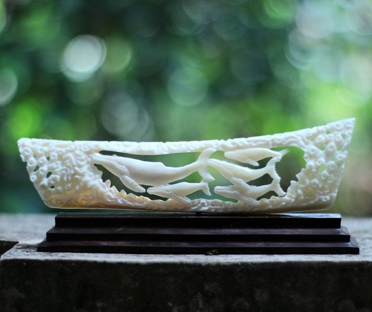 Whales Buffalo Bone Carving Statue BCD 7