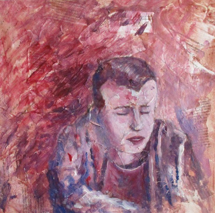 Ángel Gutiérrez. Retrato de Adrián. Acrílico y collage sobre lienzo.