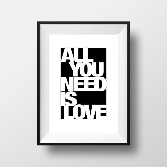 All You need is Love Poster Printable Home Decor di ThatsAPoster