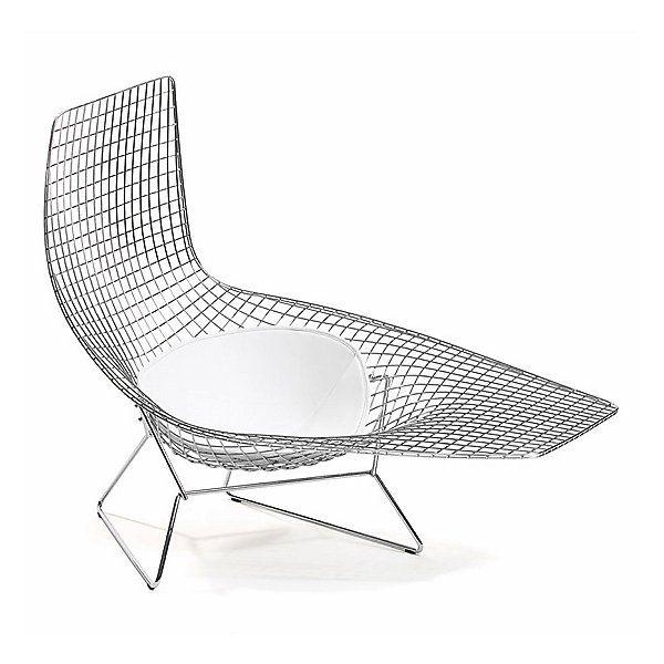 Knoll Blue Green Bertoia Asymmetric Chaise With Seat Cushion By Harry Bertoia At Lumens Com Bertoia Modern Lounge Chairs Bertoia Chaise