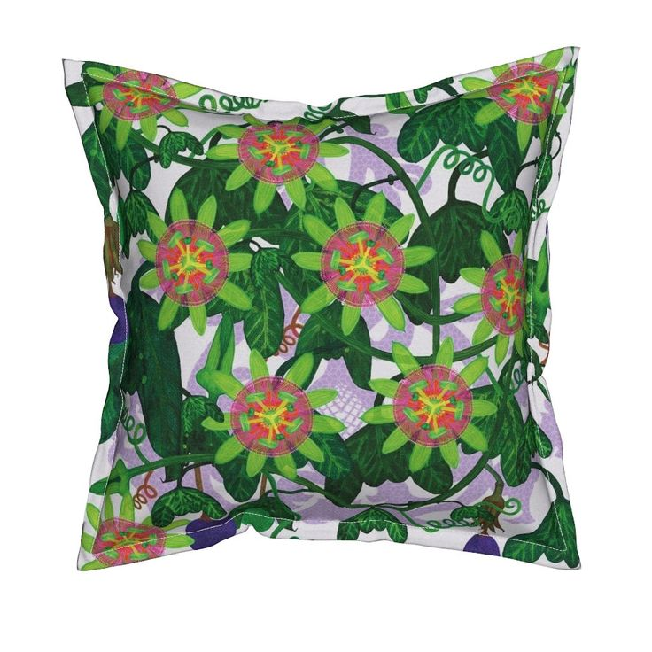 Serama Throw Pillow featuring Passiflora mexicana by joancaronil | Roostery Home Decor