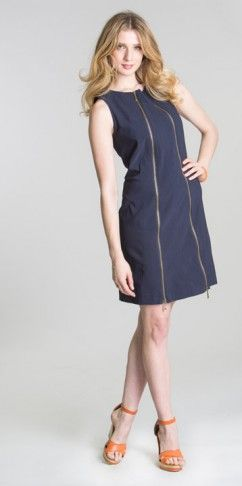 Zippered dress BCDR8174 available in key lime, navy (pictured) and orange