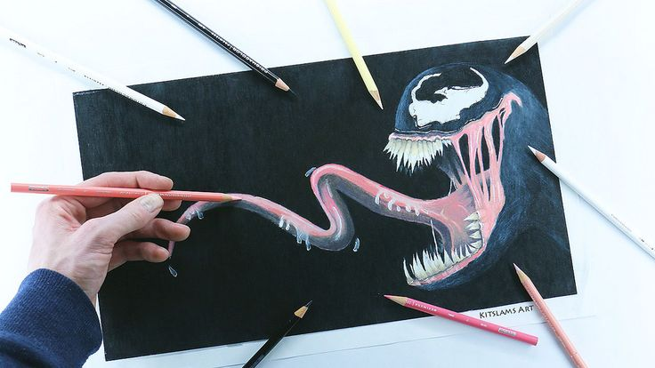 https://flic.kr/p/UpzKTr | https://youtu.be/8j64ySdhXVQ | Pencil color drawing of Venom with my opposite hand.  | Video: https://youtu.be/8j64ySdhXVQ |  #venom #drawing #marvel #ambidextrous #art
