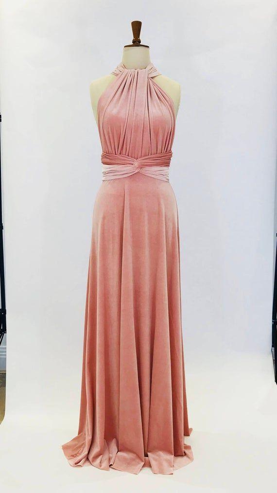 Erröten Sie rosa samt, unendlich Kleid, Brautjungfernkleid, Kleid, multiway Kleid, langes Kleid, Abendkleid, Cabrio Kleid #kleid