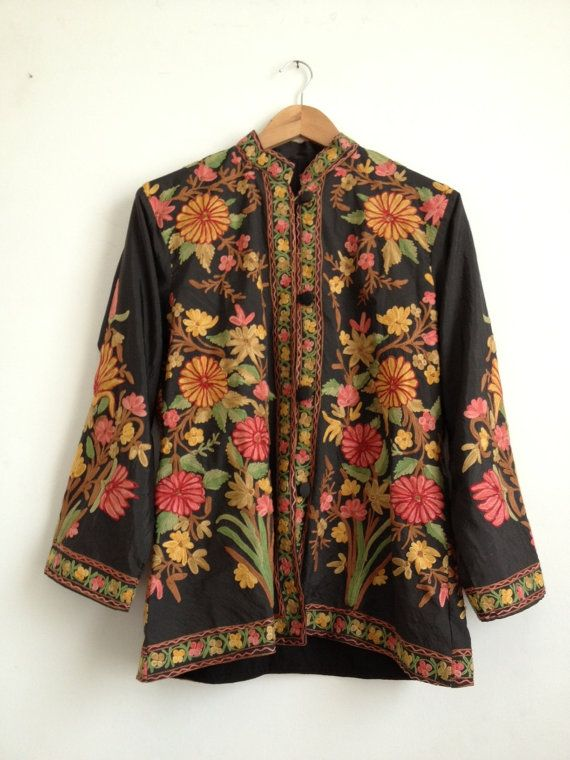 Embroidered Floral Jacket/ Ladies Winter Jacket/ Floral Embroidery Kashmiri Jacket/ Indian ...