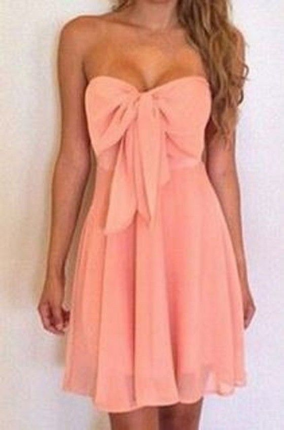 Pink Plain Bow Bandeau Formal Sexy Cocktail Party Chiffon Dress