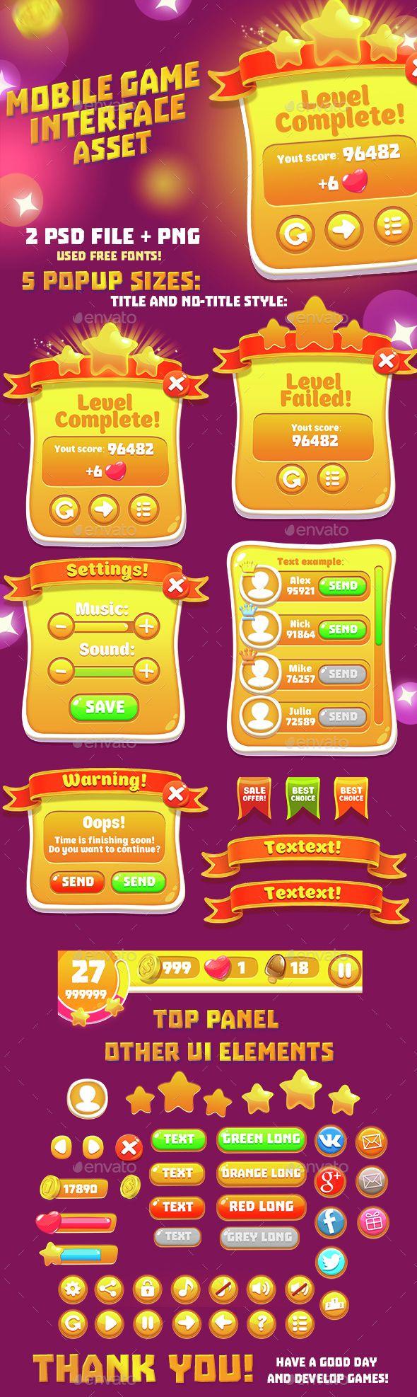 Orange Casual GUI Set - User Interfaces Game Assets | Download http://graphicriver.net/item/orange-casual-gui-set/15082858?ref=sinzo