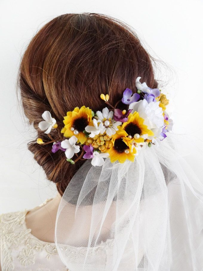 sunflower hair clip, bridal hair clip, sunflower wedding hair piece, bridal hair piece, bridal headpiece, yellow and purple hair flowers by thehoneycomb on Etsy https://www.etsy.com/listing/488783352/sunflower-hair-clip-bridal-hair-clip