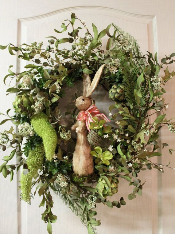 Elegant Easter Wreath with Easter Rabbit. SO ADORABLE!