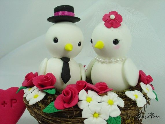 Customise Birds Love Wedding Cake Topper with Red and White Floral Nest via Etsy