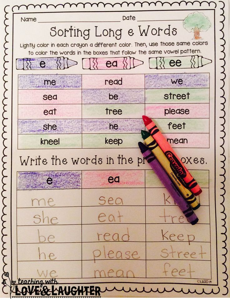 Word Sorts {First Grade Edition} These 40 word sorts contain all the spelling patterns first graders need to know. Students color the words that follow the same patterns the same color and write them in the correct column. For extra practice, they can illustrate some of the words or write some in sentences on the back of each sheet. FREE Long e word sort if you download the preview!