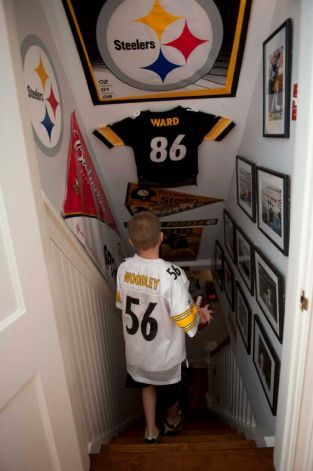 Pittsburgh Steelers Man Cave entrance--Make it a Packer one and this would be perfect for Taylor