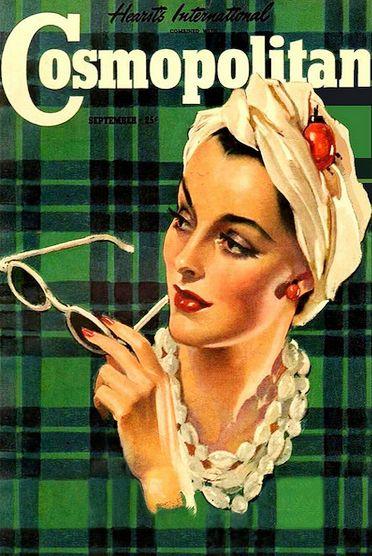 Vintage Cosmopolitan Magazine with green plaid.