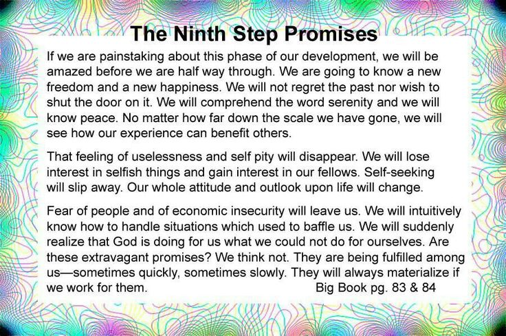 9th Step Promise Recovery Pinterest