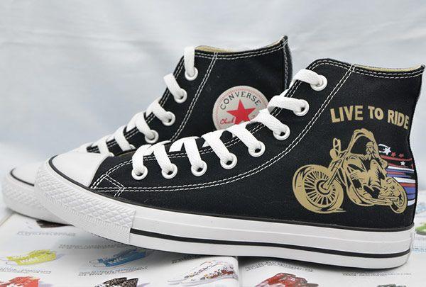 #converse Stylish Converse Harley Motor Print Black Chuck Taylor All Star High Canvas Sneakers
