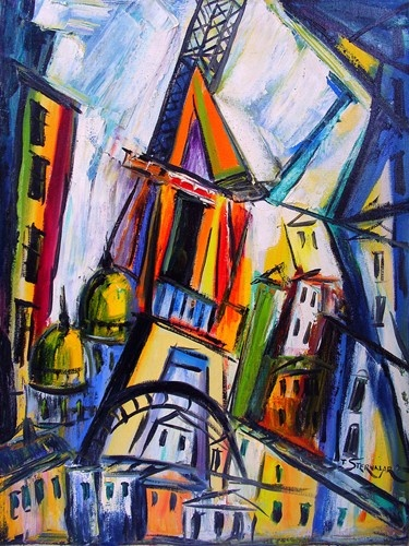Abstract CityScape in style of Robert Delaunay by Tea Sternklar