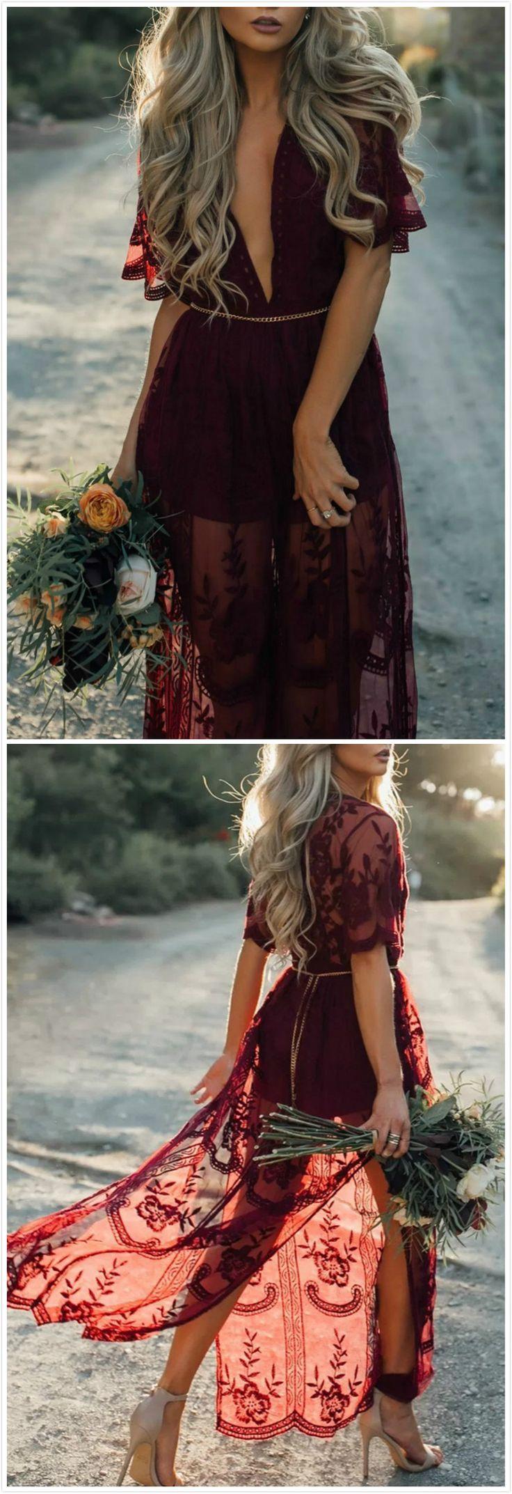 Pretty Deep V Neck Short Sleeve High Waist Lace Dress 9