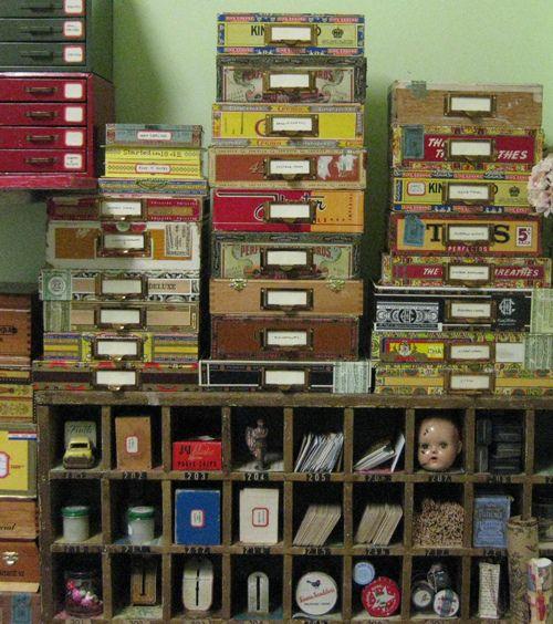 Cigar box storage by Cathe Holden... pretty darn cool!