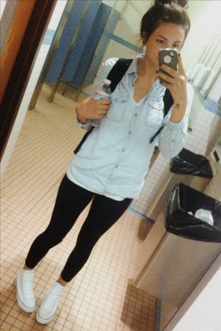 Denim shirt, leggings, white high top converse