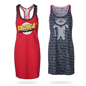 Big Bang Theory Sleep Tanks  -  Women's sleep shirts from The Big Bang Theory   -  Officially-licensed Big Bang Theory merchandise  -  Soft Kitty features pink piping and a traditional tank style  -  Bazinga! has red and black lace insets with a racerback