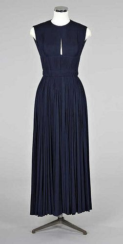Madame Gres navy pleated jersey evening gown 1960
