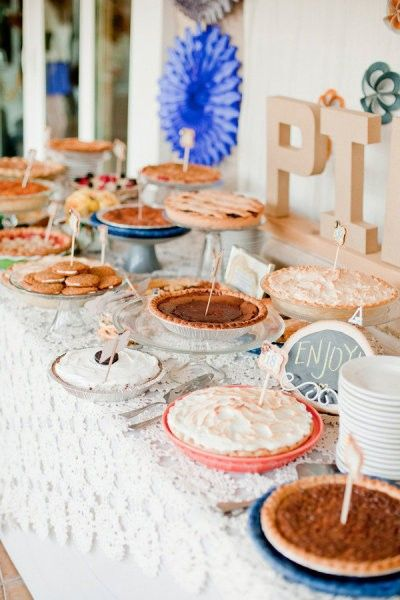 country chic wedding dessert bar | ... wedding pie bar! This old desk really brings everything together on