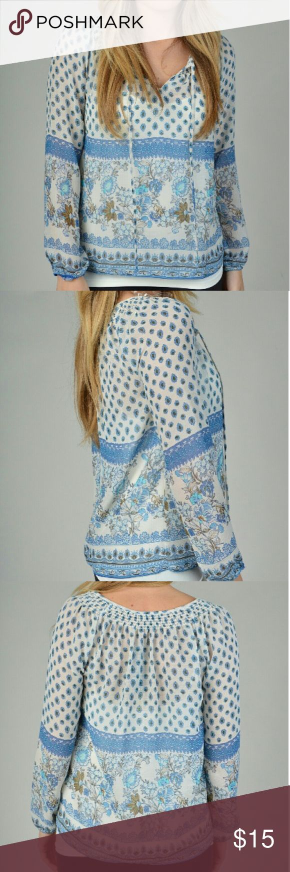 """Sheer Boho-Style Printed Blouse *NWT! *Keyhole/ties in front *Light-Blue & Cream print *Size L (Juniors) *Length: 24"""", Width: 42"""" around *100% Polyester, Hand Wash/Dry Flat Timing Tops Blouses"""