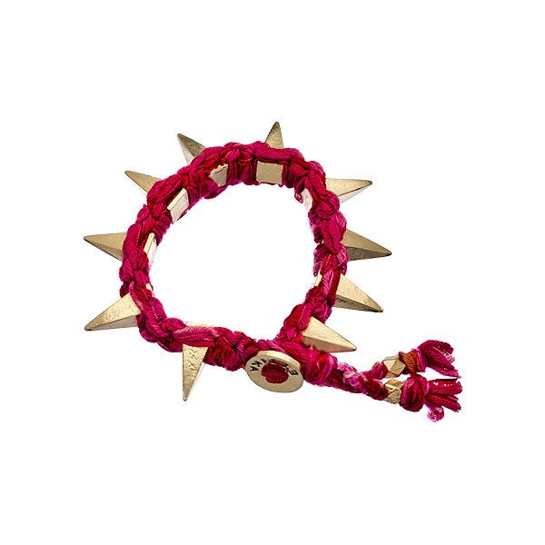 Fuchsia Vintage Ribbon with Pyramid Spikes Bracelet ($60) ❤ liked on Polyvore featuring jewelry, bracelets, fashion jewelrybracelets, pyramid bracelet, button bracelet, gold pyramid bracelet, spike bracelet y gold bangles