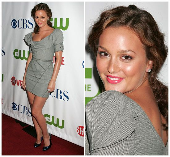 Leighton Meester in Zac Posen Pre-Fall 2008 with blue Sergio Rossi pumps