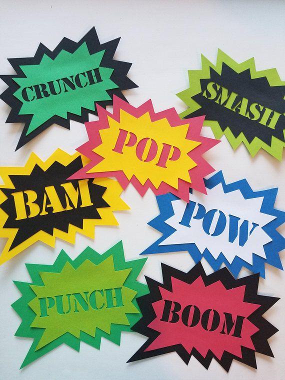 Superhero Signs {7 pcs} Superhero Party Decorations, Comic Book Party, Action Bubbles, Boom, Pow, Bam, Smash, Superhero Birthday Party. Super Hero Party Decorations