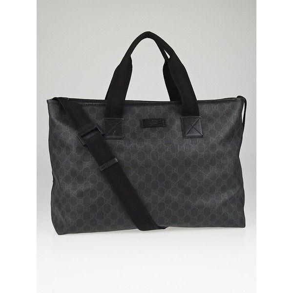gucci messenger bag. pre-owned gucci black/grey gg coated canvas large messenger bag (2.010 brl s