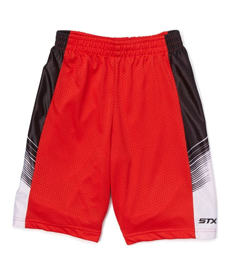 Engine Red & Light Gray Color Block Shorts - Boys