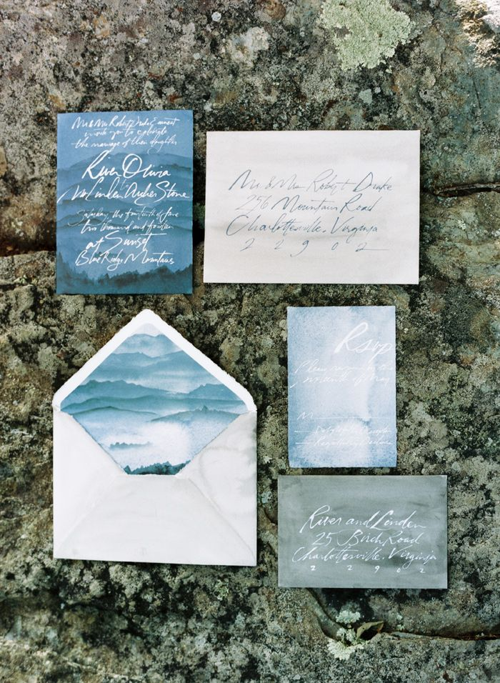 grey and blue wedding invites