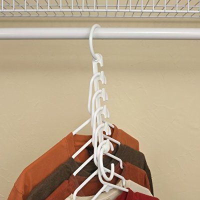 Wonder Hanger Closet Clothes Organizer/Space Saver Storage White Plastic 10 Pack