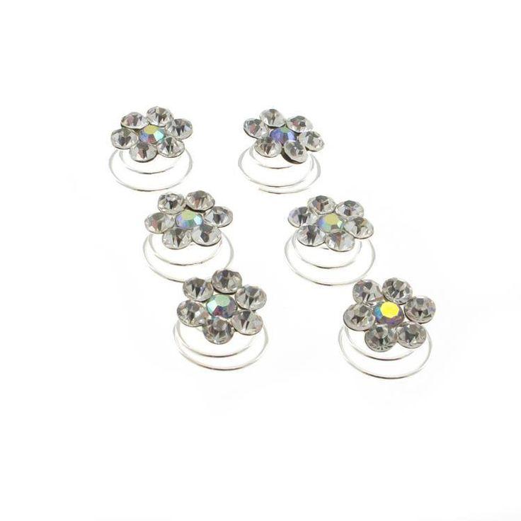 Diamante AB Crystal Flower Hair Swirls / Twists / Spirals