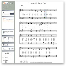 Use this site to get printable music for most LDS hymns and primary songs.  It will even transpose the songs into a different key for you and you can print out the transposed version.  Love it!  It will play it for you too if you want to hear what it's supposed to sound like.