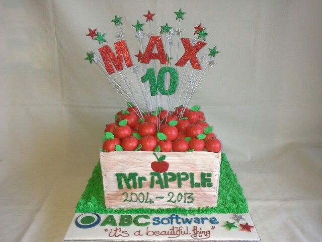 Mr Apple& ABC Software cake created by MJ & Stacey www.mjscakes.co.nz in sunny Hawkes Bay NZ delivered to Café no 5