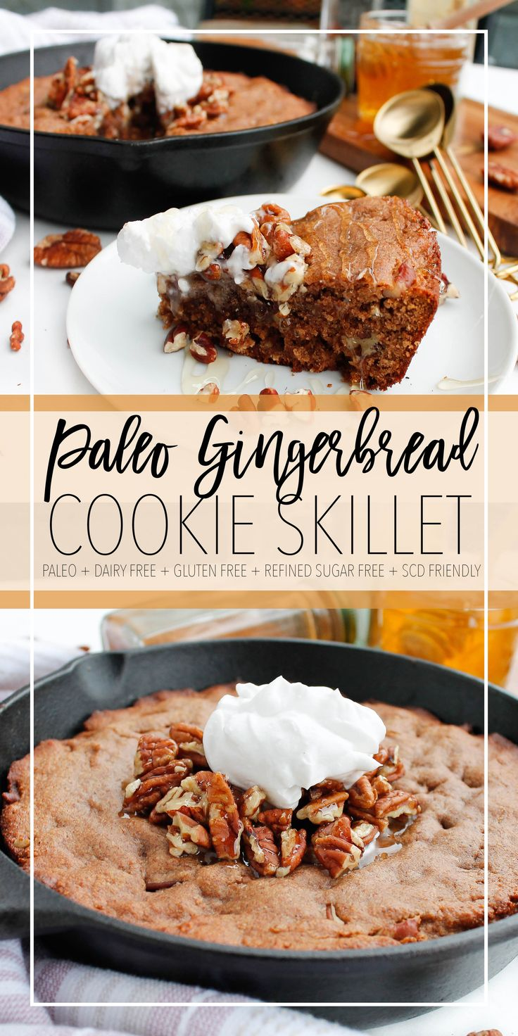 This molasses-free paleo gingerbread skillet is pe…