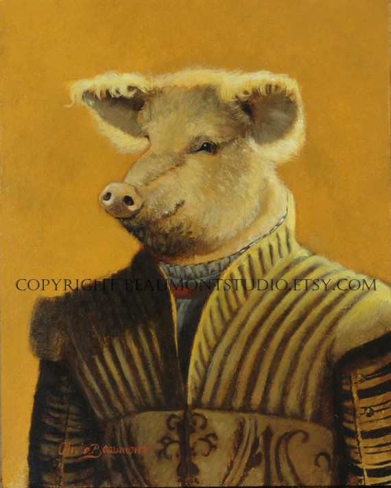 Pig art  The Historian  Oil Painting by Olivia by BeaumontStudio, $800.00