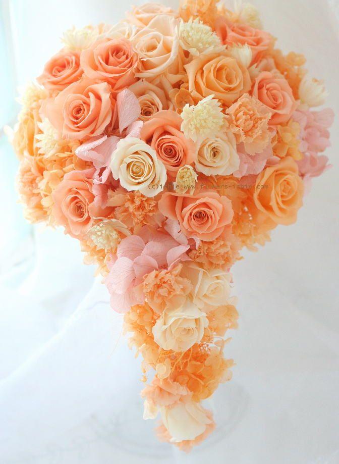 ブーケ プリザ オレンジの雫 : 一会 ウエディングの花