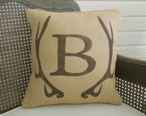 Deer Antler Monogram Pillow Burlap Pillow by nextdoortoheaven