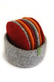 Felted Wool Coaster Set by Patty Benson: 7 coasters in a bowl with a leather strap snap. Irresistible. $68.