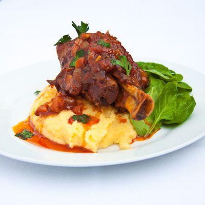 Tomato Braised Lamb Shanks on Polenta