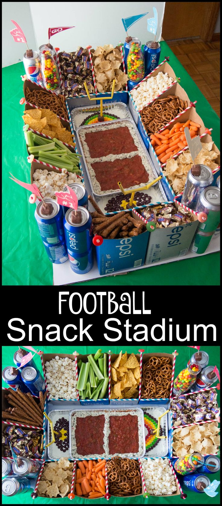 Ultimate Football Snack Stadium made by using cardboard soda cartons. Perfect for holding all your snacks and celebrating the Big Game with a football party. #GameDayGlory (ad)