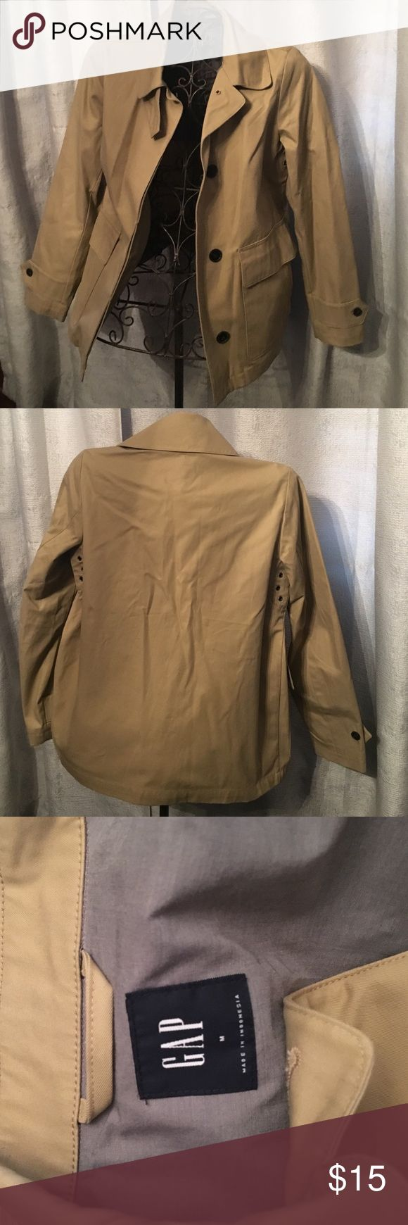 Tan Gap Jacket with large Pockets Sz Med Tan Gap jacket with large outer pockets. Has four pockets in total and armpit grommets. Also has neck closure as pictured. Make me an offer 😊 GAP Jackets & Coats Utility Jackets