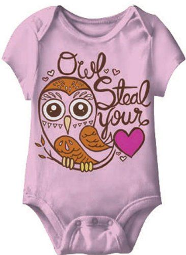 Baby-Girls Owl Steal Your Heart Creeper Romper