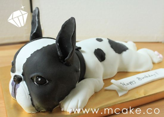 French Bulldog cake  @Stacy!  OMG. WANT!!  Love it Lisa!!