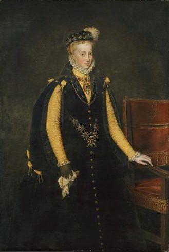 Ana de Austria, reina consorte de España Esposa, 4º, de Felipe II, Rey de España, su tío. Hija del Emperador Maximiliano II y de María de Austria. Nieta del Emperador Carlos V e Isabel de Portugal. Nieta del Emperador Fernando I de Habsburgo. Sobrina de Felipe II, su esposo. Hermana de Alberto de Austria. Cuñada, y madrastra, de Isabel Cara Eugenia. Madre de Felipe III. By @felinoplaza Por Antonio Moro (1519–1575)